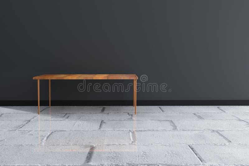 3D翻译:木桌对有丝毫发光的地板的,简单派室内设计室黑墙壁 免版税图库摄影