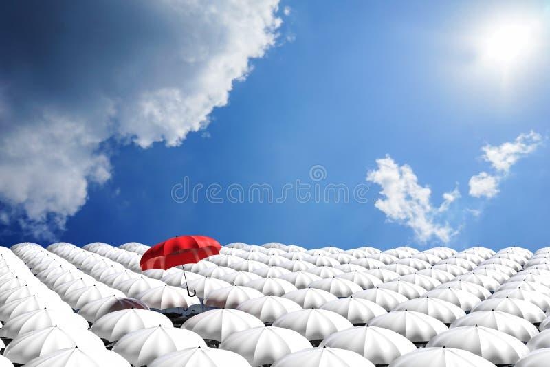 3D翻译:漂浮上面从许多白色伞人群的红色伞的例证反对蓝天和云彩 库存例证