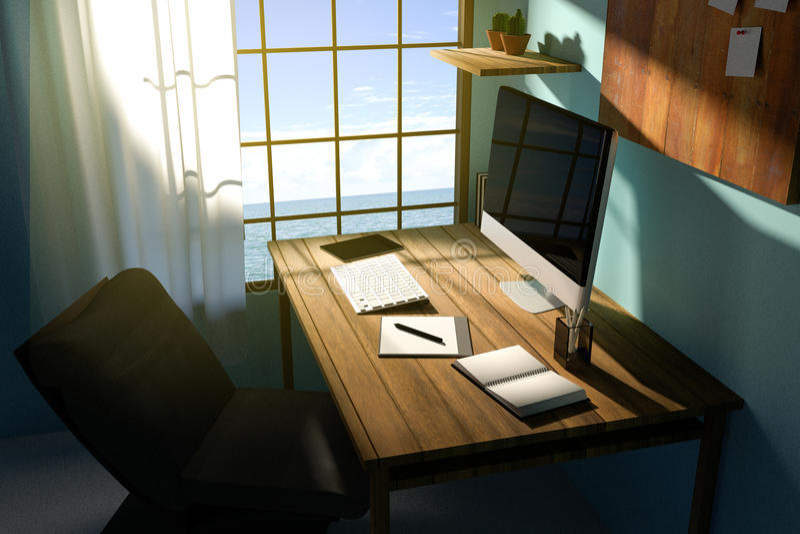 3D翻译:现代创造性的工作场所的例证 在木桌上的个人计算机显示器 透亮帷幕和玻璃窗 库存例证