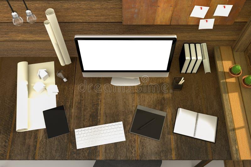 3D翻译:现代创造性的工作场所的例证 在木桌和木室上的个人计算机显示器 阳光发光 皇族释放例证