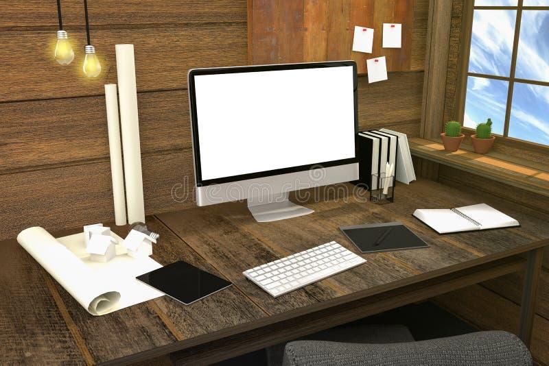 3D翻译:现代创造性的工作场所的例证 在木桌和木室上的个人计算机显示器 皇族释放例证