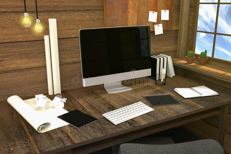 3D翻译:现代创造性的工作场所的例证 在木桌和木室上的个人计算机显示器 库存例证