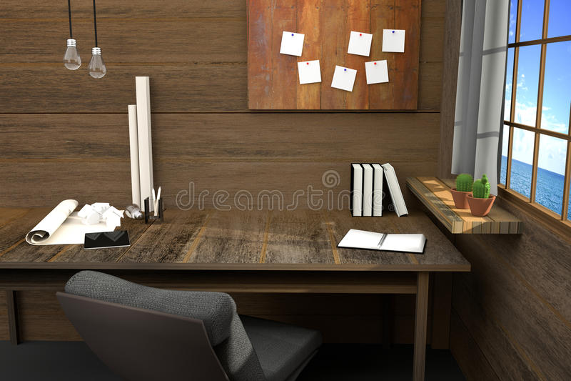 3D翻译:现代创造性的工作场所的例证 在木桌和木室上的工具 帷幕和窗口 皇族释放例证