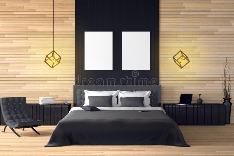 3D翻译:现代木房子内部的例证 床房子的室零件 木样式的宽敞卧室 向量例证