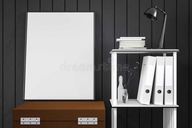 3d翻译:白色嘲笑的例证框架的 行家背景 白色海报或画框的嘲笑 皇族释放例证