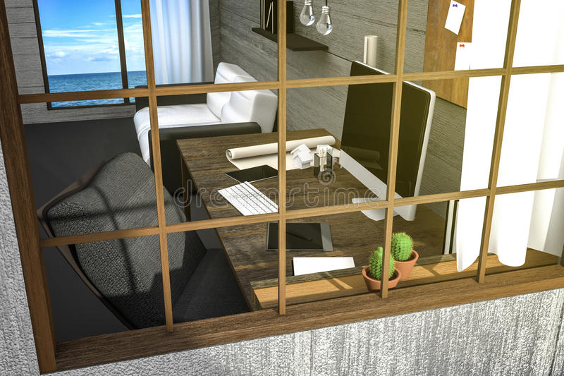 3D翻译:看法的例证从现代创造性的工作场所之外 在桌上的个人计算机显示器和有seaview的木室 库存例证