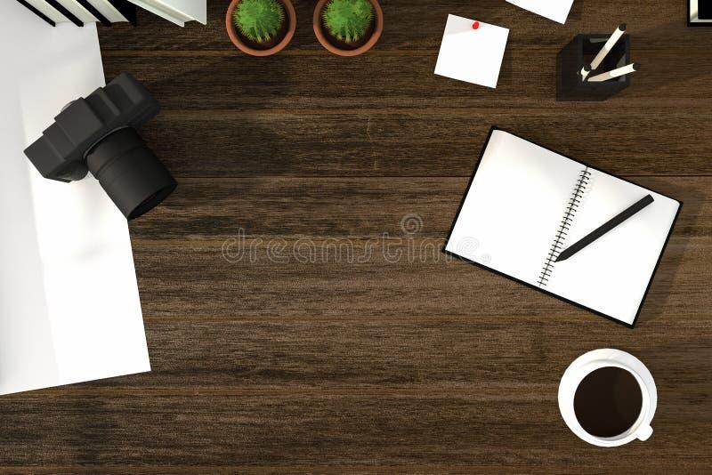 3D翻译:顶视图现代创造性的工作场所的例证 在棕色木桌上的黑照相机 阳光发光 皇族释放例证