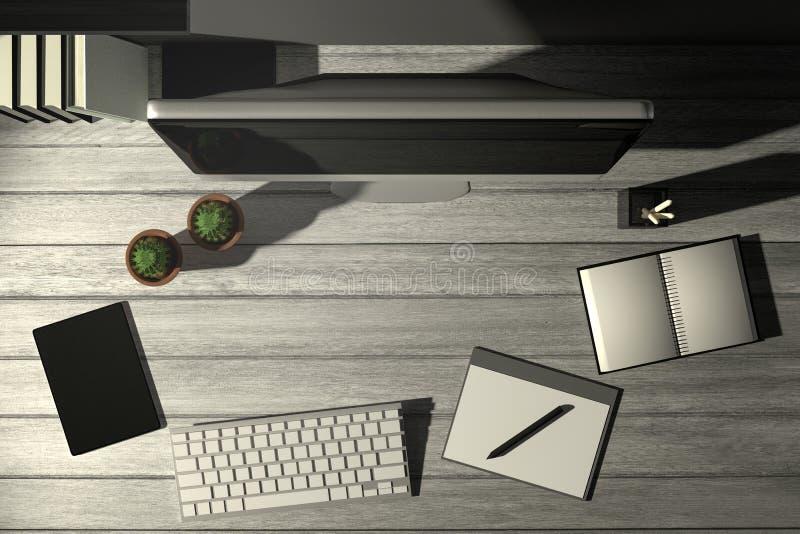 3D翻译:顶视图现代创造性的工作场所的例证 在白色木桌上的个人计算机显示器 发光从外面的阳光 向量例证