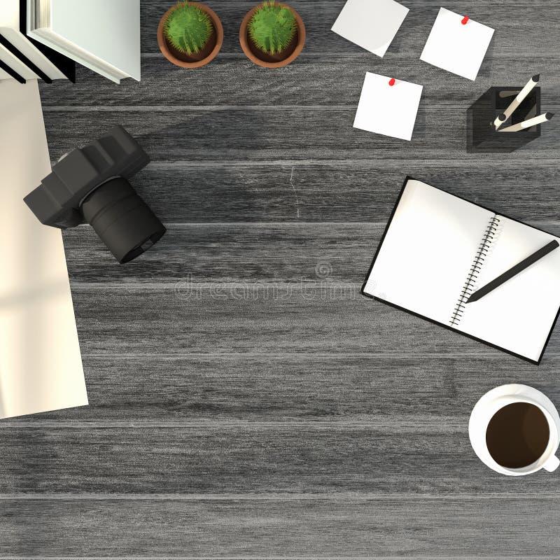 3D翻译:顶视图现代创造性的工作场所的例证 在白色木桌上的照相机 发光从外面的阳光 向量例证