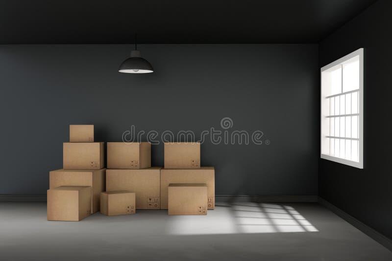 3D翻译:移动的箱子的例证在一个新的办公室 家庭新 有纸板箱的内部移动的房子 轻的外部 向量例证