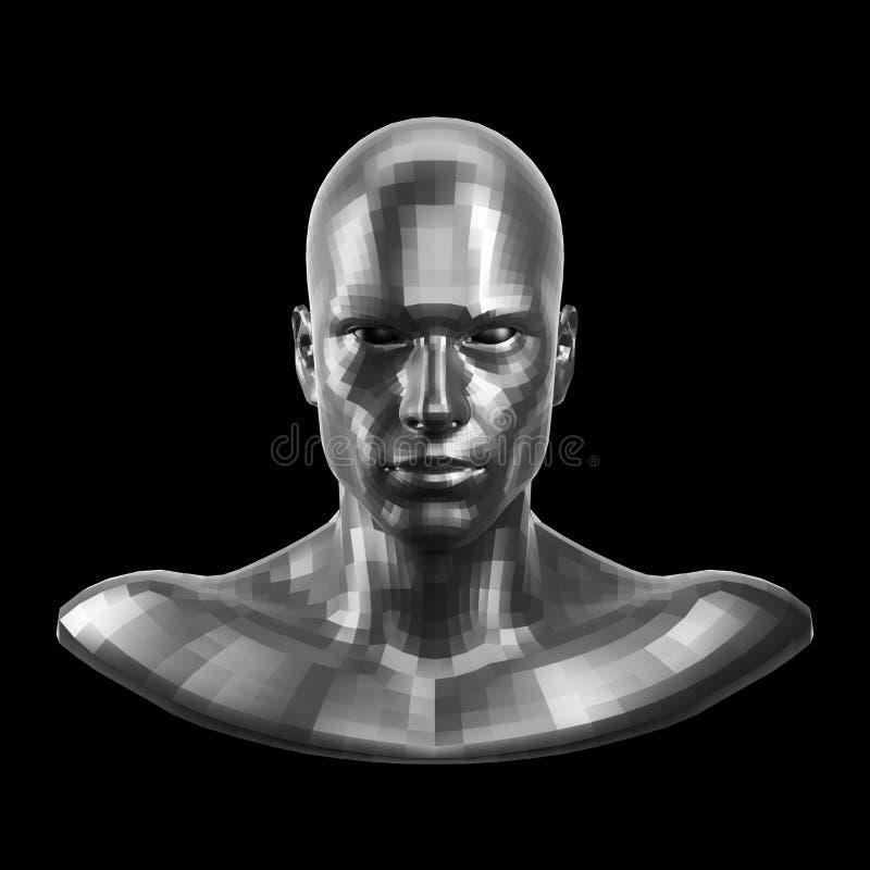 3d翻译 与看起来的眼睛的雕琢平面的银色机器人面孔前面在照相机 库存照片