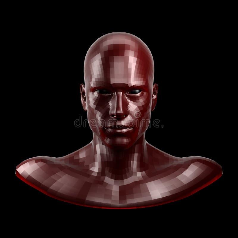 3d翻译 与看起来的黑眼睛的雕琢平面的红色机器人面孔前面在照相机 库存图片