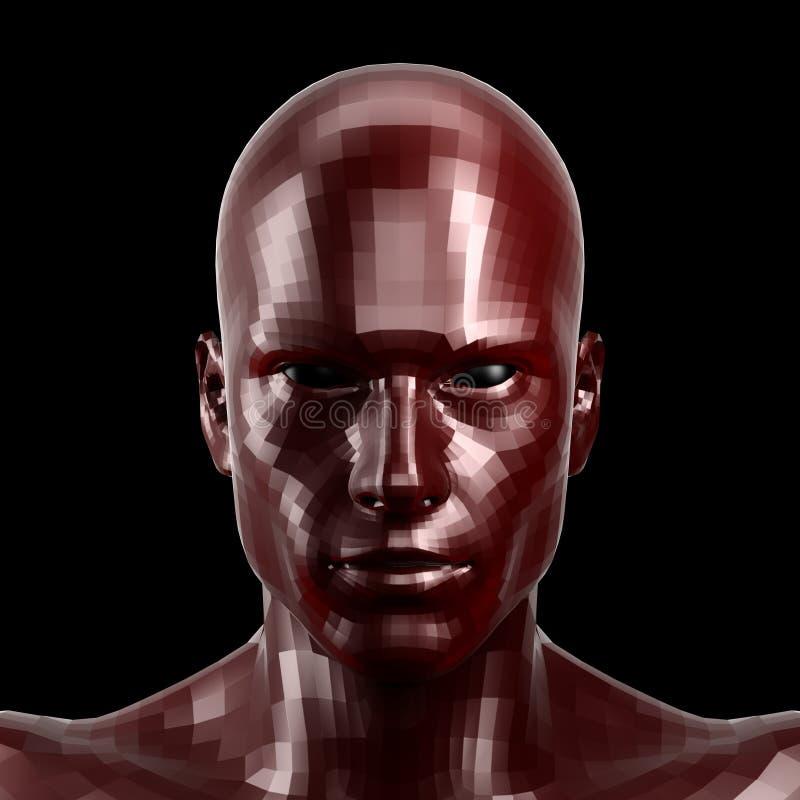3d翻译 与看起来的黑眼睛的雕琢平面的红色机器人面孔前面在照相机 免版税图库摄影