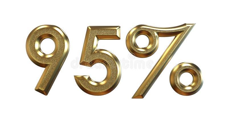 3d翻译 在白色背景的金子百分比 库存例证