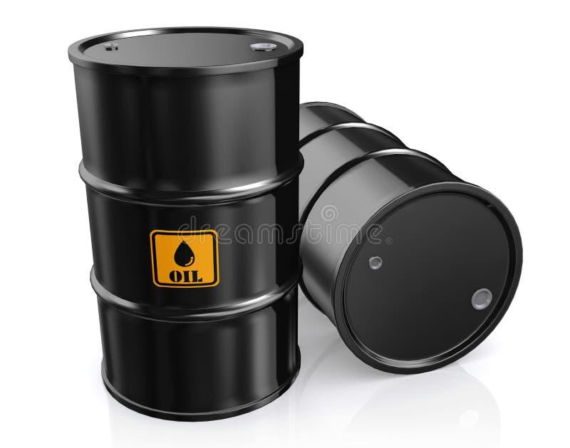 3D黑金属油桶的例证 库存例证