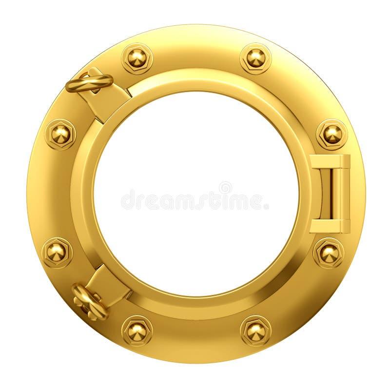 3d黄铜舷窗 库存例证