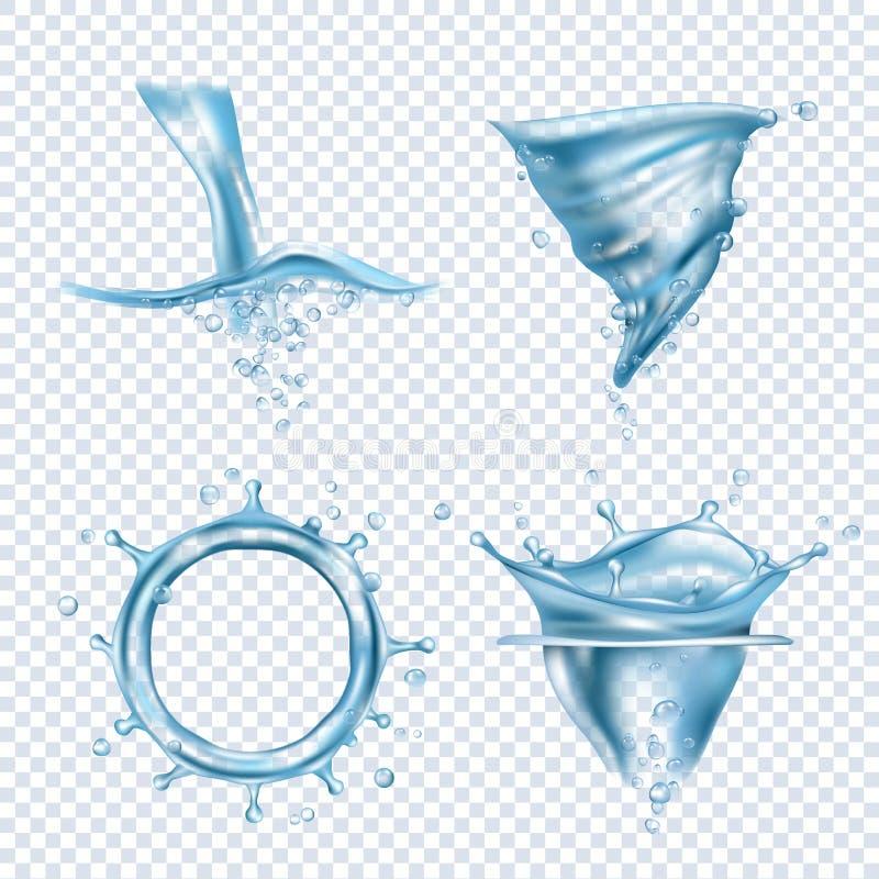 r 雨投下液体流体反对透明一滴动态水旋涡传染媒介现实图片 向量例证