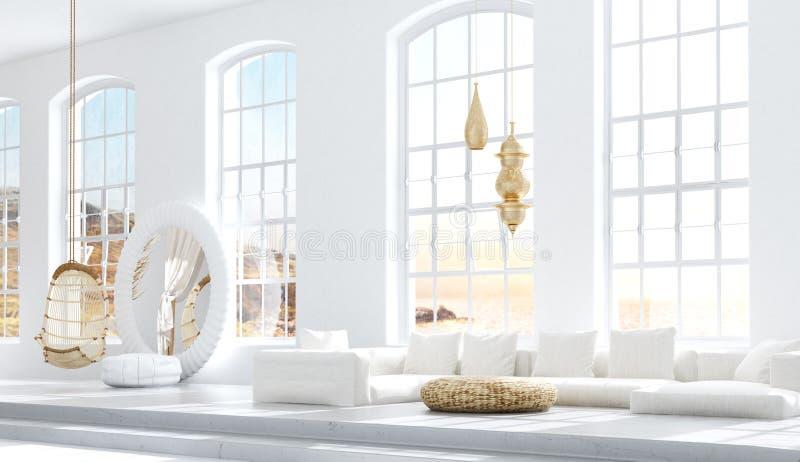 有客厅的,斯堪的纳维亚漂泊样式开放卧室 库存例证