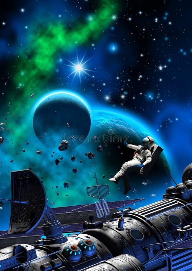 宇航员和太空飞船在一个行星附近与月亮、黑暗的天空与星云和星,3d例证 免版税库存图片