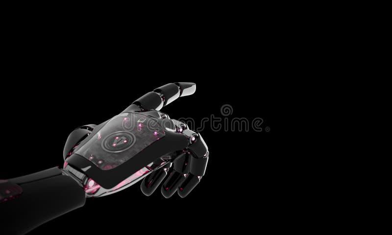 指向手指3D翻译的红色机器人手 皇族释放例证