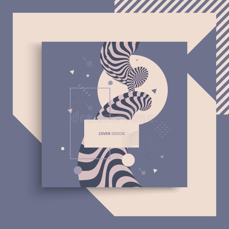 шаблон дизайна крышки 3d Азиатская иллюстрация вектора Картину можно использовать как шаблон для брошюры, годового отчета, журнал бесплатная иллюстрация