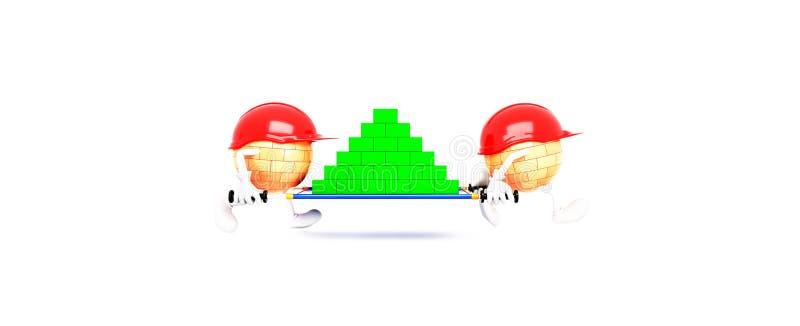 Построители 3d на белой предпосылке иллюстрация штока