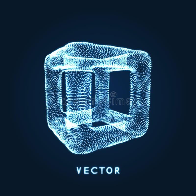 包括点的立方体 E 3d栅格设计 技术样式 分子格子 向量例证