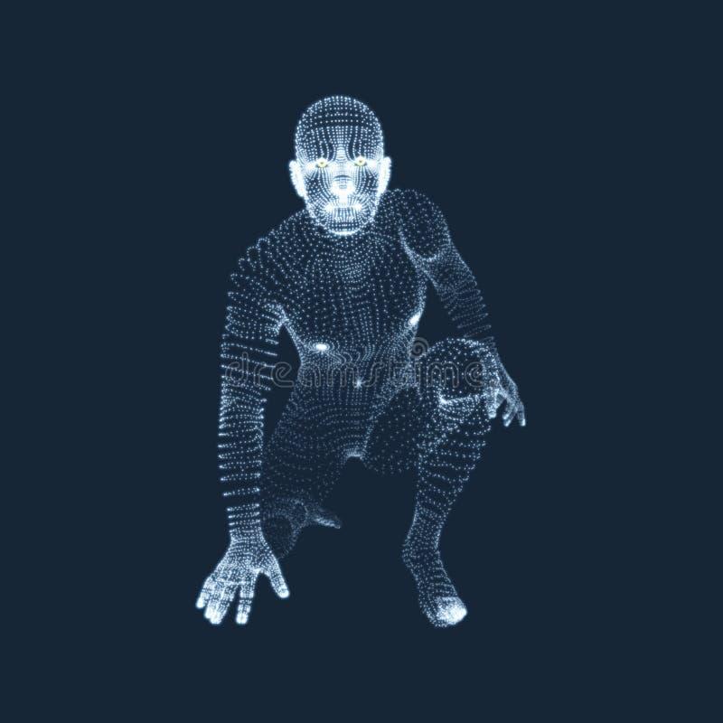 Спортсмен на исходной позиции готовой для начала гонки Бегун подготавливает для спорт работает Модель провода человеческого тела  иллюстрация штока
