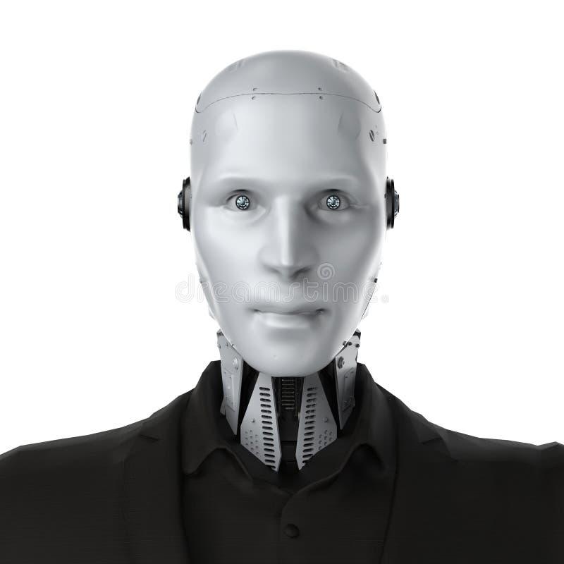 Робототехнический изолированный бизнесмен иллюстрация штока