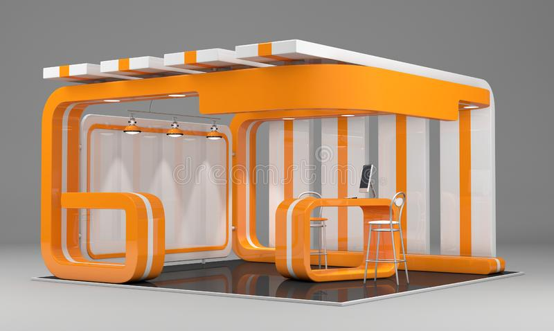 3d说明了与桌的独特的创造性的陈列立场显示器设计,并且椅子,信息板,卷起 皇族释放例证