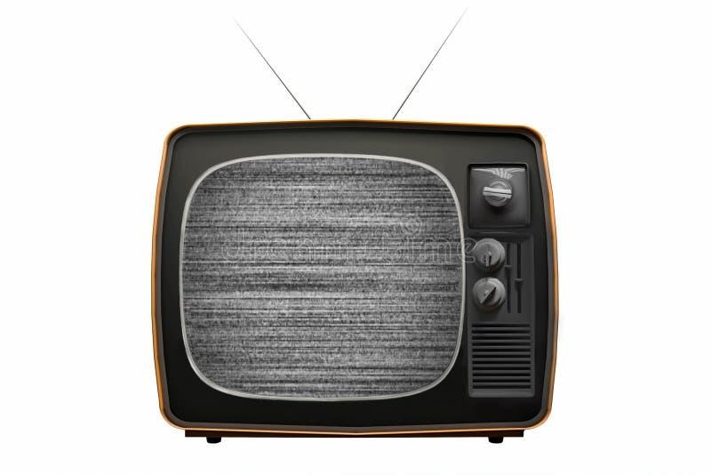 与噪声的老电视在屏幕上 减速火箭的电视概念 没有信号 3d?? 库存例证