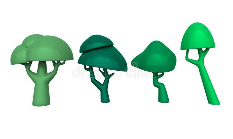 Установите деревьев на белой предпосылке перевод 3d бесплатная иллюстрация
