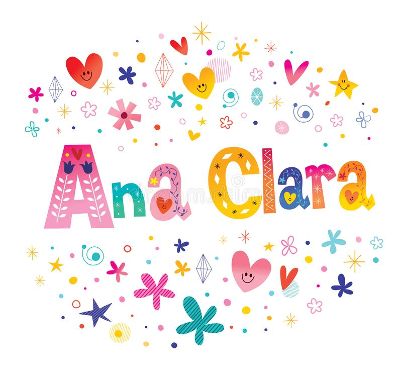 Ana Clara girls name. Decorative lettering type design vector illustration