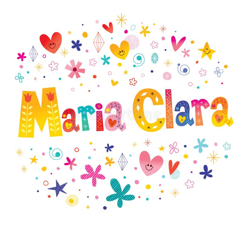 Maria Clara girls name. Decorative lettering type design stock illustration