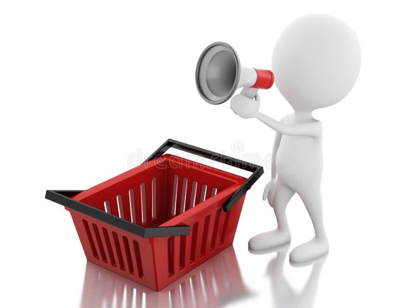 3d aankondiging van de mensenverkoop met megafoon en het winkelen mand royalty-vrije illustratie