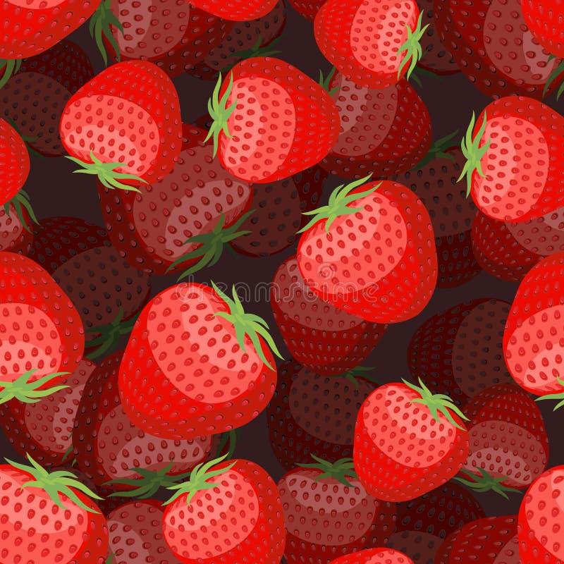 3D aardbeipatroon Rode bessentextuur Zoet fruitornament stock illustratie