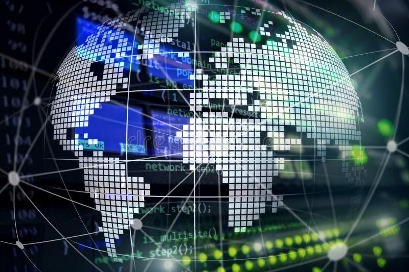 3D Aarde als telecommunicatie en Internet-technologieconcept stock illustratie