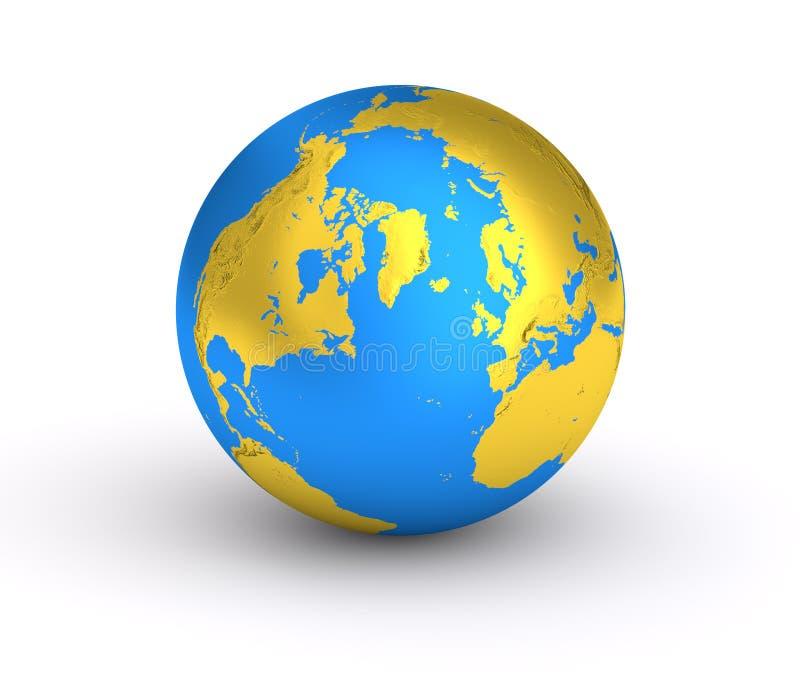 3D Aarde gouden blauwe planeet royalty-vrije illustratie