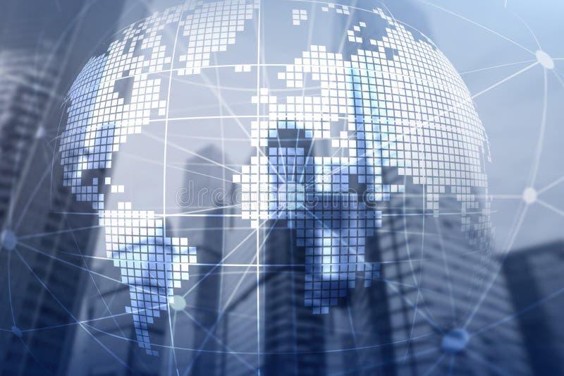 3D Aardehologram op vage achtergrond Globaal bedrijfs en communicatie concept stock fotografie
