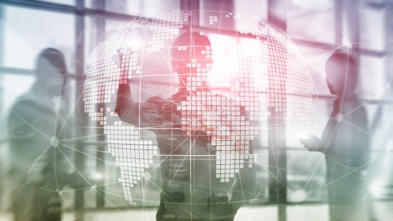3D Aardehologram op vage achtergrond Globaal bedrijfs en communicatie concept stock afbeeldingen