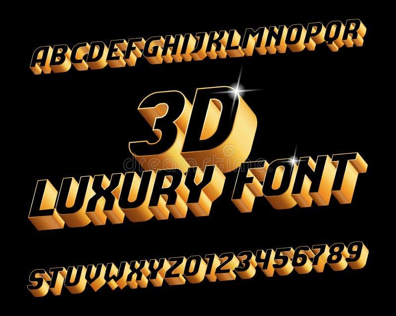 3D abecadła luksusowa chrzcielnica Trójwymiarowi skutków listy, liczby w czarnym i złotym i royalty ilustracja