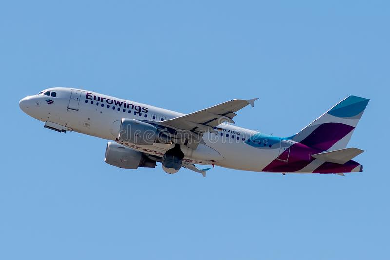 Airbus A319-112 operated by Eurowings on takeoff. D-ABGQ, July 9, 2019, Airbus A319-112-3700 taking off from Paris Roissy Charles de Gaulle airport on Eurowings stock photos