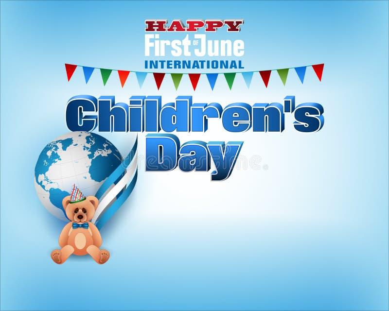 D'abord de juin, célébration internationale de jour du ` s d'enfants illustration de vecteur