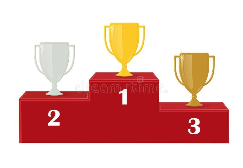 D'abord, deuxième et troisième place Récompense pour la victoire : or, argent et cuivre Gagnants de tasse sur le piédestal rouge illustration libre de droits