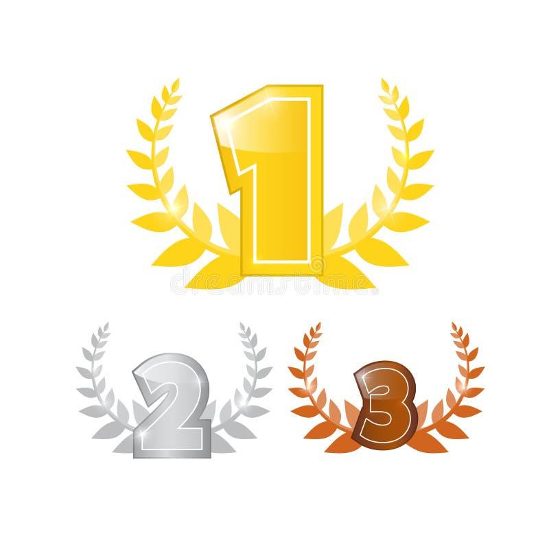 D'abord, deuxièmes et troisième icônes de vecteur d'endroit réglées illustration de vecteur