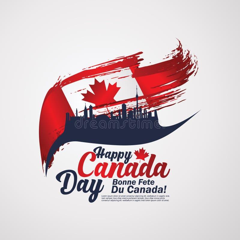 D'abord du jour de juillet Canada, fond de carte de voeux avec la conception de typographie illustration de vecteur
