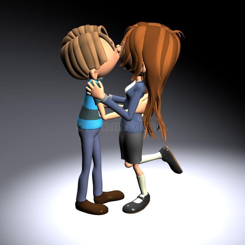 D'abord fille de garçon de baiser illustration libre de droits