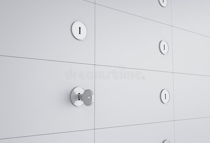 3d abrem a caixa de cofre-forte com chave no buraco da fechadura ilustração stock