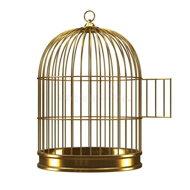 3d abrem o birdcage dourado ilustração royalty free