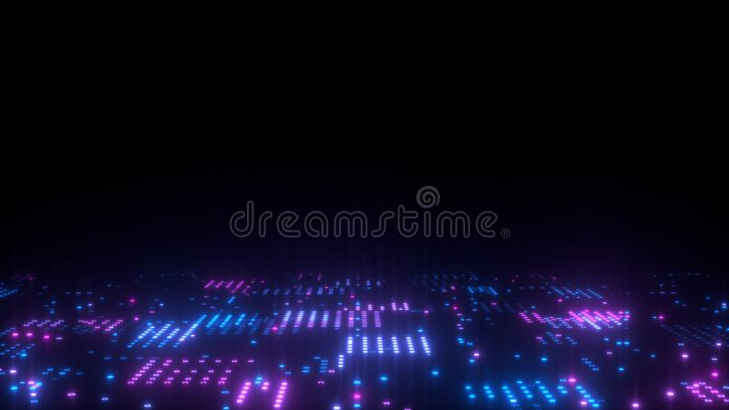 3d abstract art background render, circles and dots on the black, retrowave and synthwave illustration. Futuristic technical concept royalty free illustration
